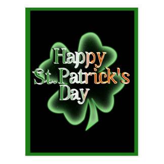 Lycklig st patrick's day (irländsk flaggafärgtext) vykort