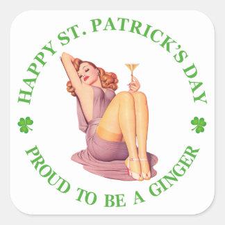 Lycklig st patrick's day - som är stolt som är en fyrkantigt klistermärke