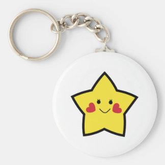 Lycklig stjärna rund nyckelring