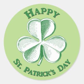 Lycklig Sts Patrick dag drog Shamrock Runt Klistermärke