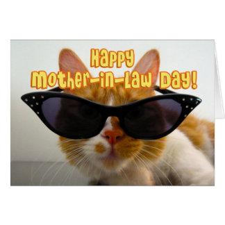 Lycklig svärmordag - kall katt med solglasögon hälsningskort