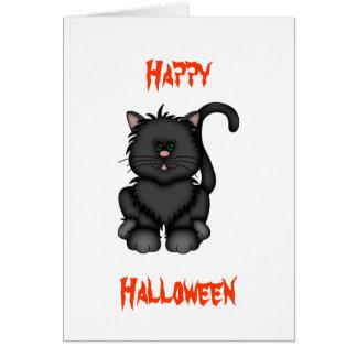 Lycklig svart Halloween katt Hälsningskort