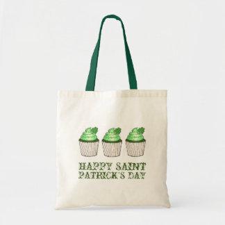 Lycklig toto för saint patrick's daygröntmuffin tygkasse