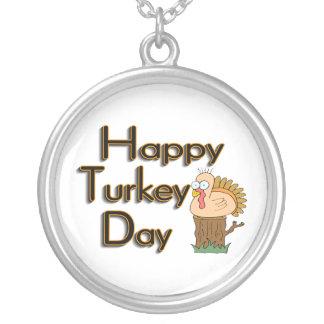 Lycklig Turkiet dagthanksgiving Silverpläterat Halsband