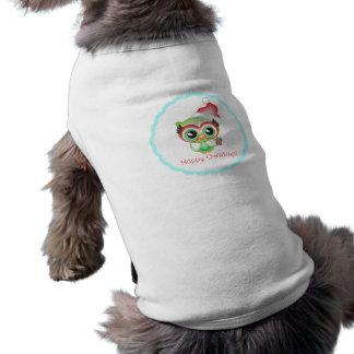 Lycklig uggla för helgdag för Owlidays julSanta Hundtröja