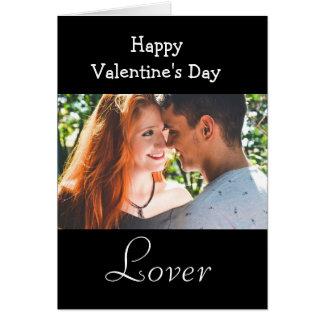 Lycklig valentin dagälskare, svart fotokort hälsningskort