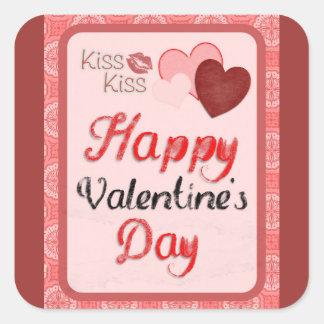 Lycklig valentin kyss för dagkyss fyrkantigt klistermärke