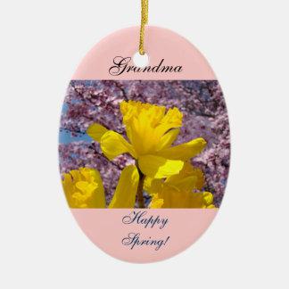 Lycklig vår för mormor! Prydnadpåskliljablommor Julgransprydnad Keramik