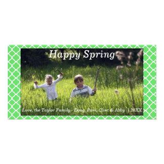 Lycklig vår-/påskfotokortgrönt fotokort