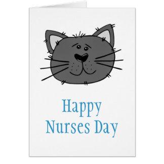 Lycklig vårdar dag med katten för veterinär- hälsningskort