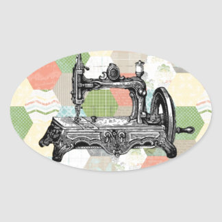Lycklig vintagesömnad ovalt klistermärke