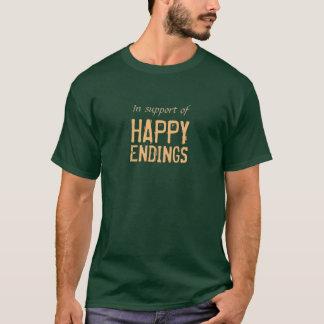 Lyckliga ändelser med beställnings- text t-shirt