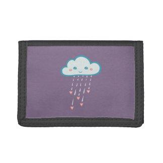 Lyckliga blått regnar molnet som regnar rosa