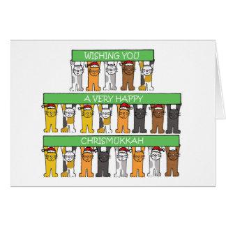 Lyckliga Chrismukkah katter Hälsningskort
