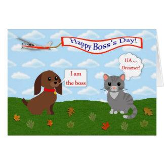 Lyckliga framstickandes dag med det katt-, hund- hälsningskort