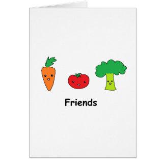Lyckliga grönsakvänner hälsningskort
