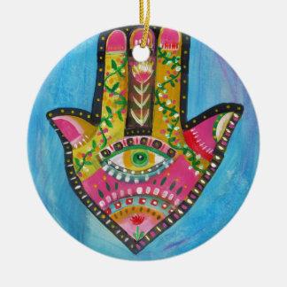 Lyckliga Hamsa räcker Julgransprydnad Keramik