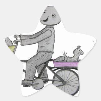 Lyckliga Herbert som rider hans cykel Stjärnformat Klistermärke