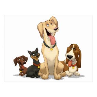 Lyckliga hundar vykort