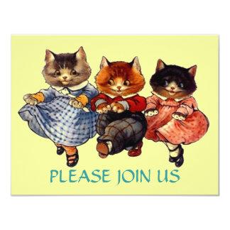 Lyckliga katter fodrar inbjudan för dansdansparty