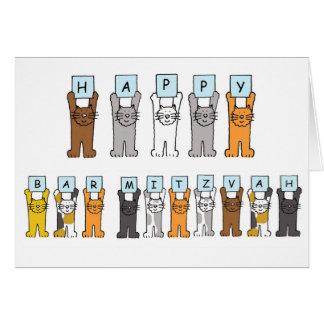 Lyckliga katter för pubMitzvah tecknad Hälsningskort