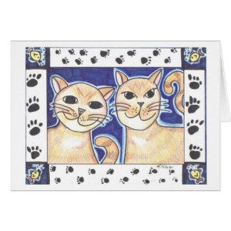 Lyckliga katter hälsningskort