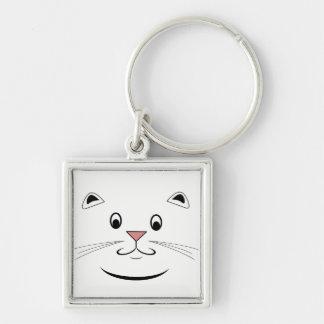 Lyckliga kattgåvor fyrkantig silverfärgad nyckelring