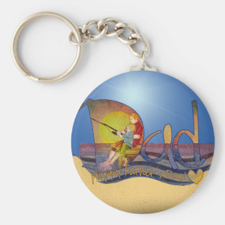 Lyckliga keychains för fars dagpappa- & sonfiske rund nyckelring