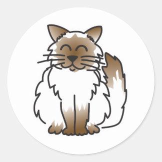 Lyckliga klistermärkear för Birman katttecknad Runt Klistermärke
