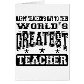 Lyckliga lärare dag till världsmästarelärare hälsningskort