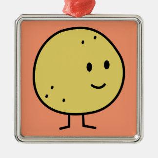 Lyckliga le grapefruktfrukter julgransprydnad metall