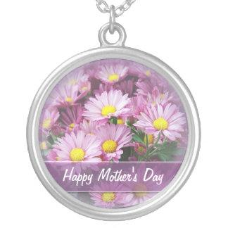 Lyckliga mors dagdaisy - hängehalsband silverpläterat halsband
