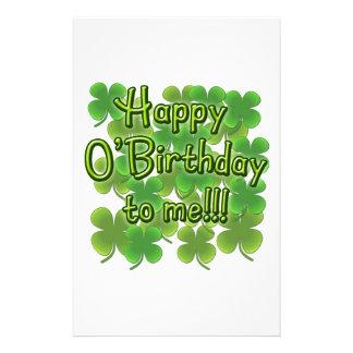 Lyckliga O'Birthday till mig med Shamrocks Brevpapper