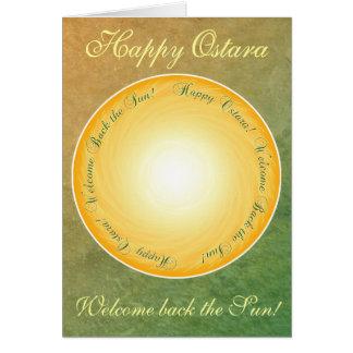Lyckliga Ostara! Välkomnandebaksida solen! Hälsningskort