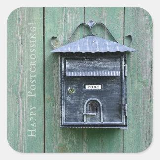 Lyckliga Postcrossing! Brevlåda Fyrkantigt Klistermärke