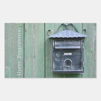 Lyckliga Postcrossing! Brevlåda Rektangulärt Klistermärke