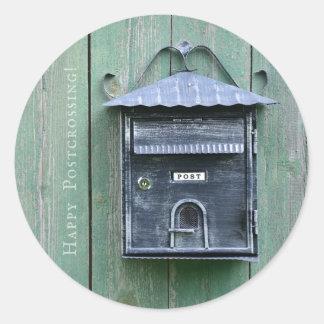 Lyckliga Postcrossing! Brevlåda Runt Klistermärke