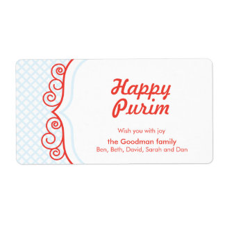 Lyckliga Purim - Gif-etikett Fraktsedel