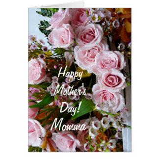 Lyckliga rosa ros för mödrar Day-Momma/ Hälsningskort