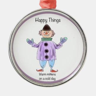 Lyckliga saker - Mittens Rund Silverfärgad Julgransprydnad