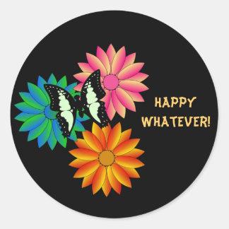 Lyckliga spelar ingen roll klistermärkear eller runt klistermärke