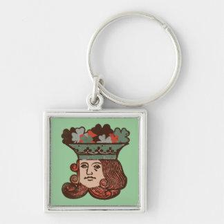 Lyckliga St Patrick Fyrkantig Silverfärgad Nyckelring