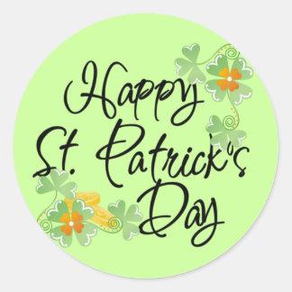 Lyckliga Sts Patrick dag Runt Klistermärke