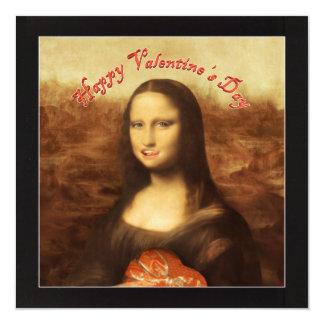 Lyckliga valentin dag Mona Lisa! Fyrkantigt 13,3 Cm Inbjudningskort