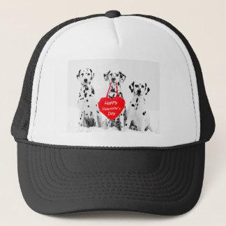 Lyckliga valentin för Dalmatianshundhjärta dag Keps