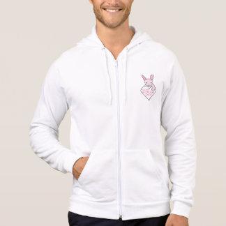 Lyckliga valentin för rosa kanin dag sweatshirt med luva