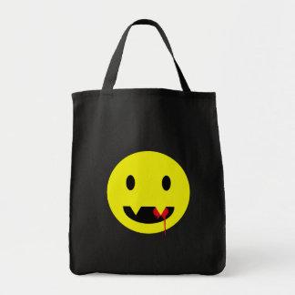 Lyckligt ansikte med huggtänder och blodTshirts Mat Tygkasse
