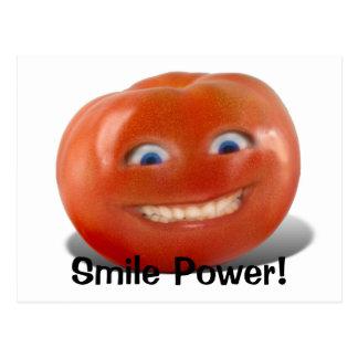 Lyckligt ansikte som ler tomaten vykort