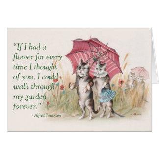 Lyckligt årsdagkort - förälskade katter hälsningskort