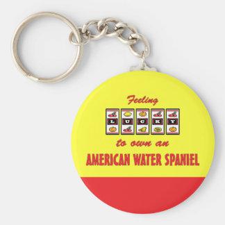 Lyckligt att äga en rolig design för amerikanvatte rund nyckelring